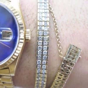 Jewelry - Fine Round Cut Diamond Two Row Yellow Gold Tennis